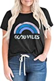 FERYSHE Womens Plus-Size Summer Tops Good Vibes T Shirts XL-4XL