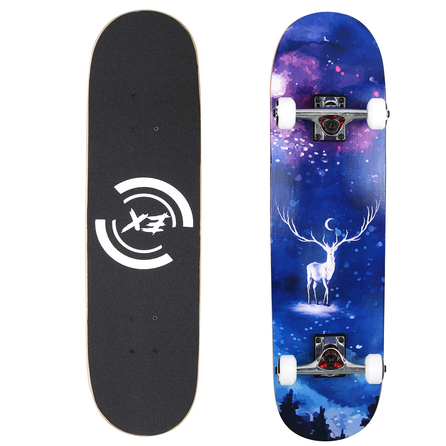 Pro Skateboard 31'' X 8'' Standard Skateboards Cruiser Complete Canadian Maple 8 Layers Double Kick Concave Skate Boards ... (DYS-SKATE-029) by DIYUSI