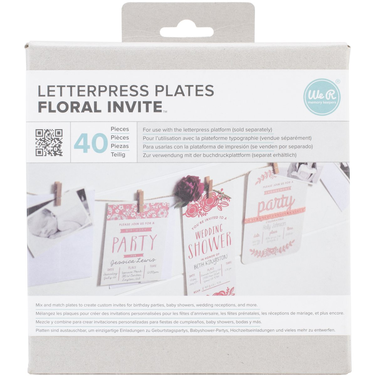 Amazon com we r memory keepers lifestyle letterpress plates floral invite arts crafts sewing