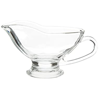 Circleware 66683 Saucy Glass Gravy Boat Dish with Handle Kitchen Glassware Serving Utensils for Dining, Warming Sauces, Salad Dressing, Best Selling Gifts & Home Decor, 10 oz, Clear