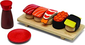PlanToys Wooden Pretend Play Sushi Set (3627) | Sustainably Made from Rubberwood and Non-Toxic Paints and Dyes