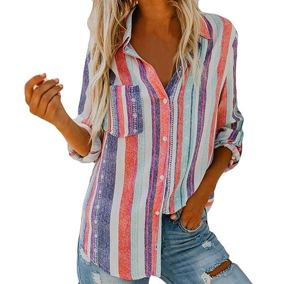 Blusa Mujeres Raya,Camiseta con Estampado de Manga Larga, Blusa sin Mangas