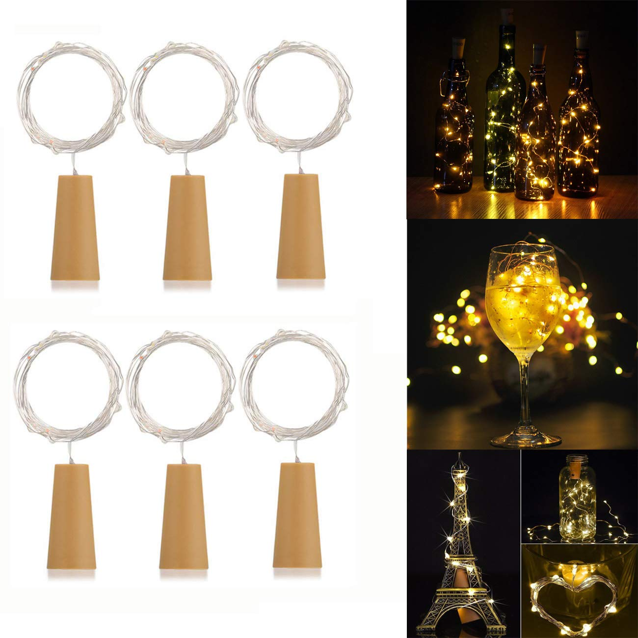 6 Pack 20-LEDs Spark Wine Bottle Light, Cork Shape Battery Copper Wire String Lights for Bottle DIY, Christmas, Wedding and Party Décor - Warm White ATP
