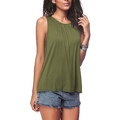 iGENJUN Women's Summer Sleeveless Pleated Back Closure Casual Tank Tops at Women's Clothing store