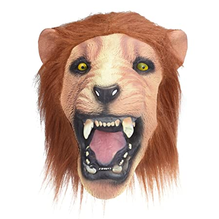 Oulii Adults Fancy Dress Lion Angry Halloween Props Head