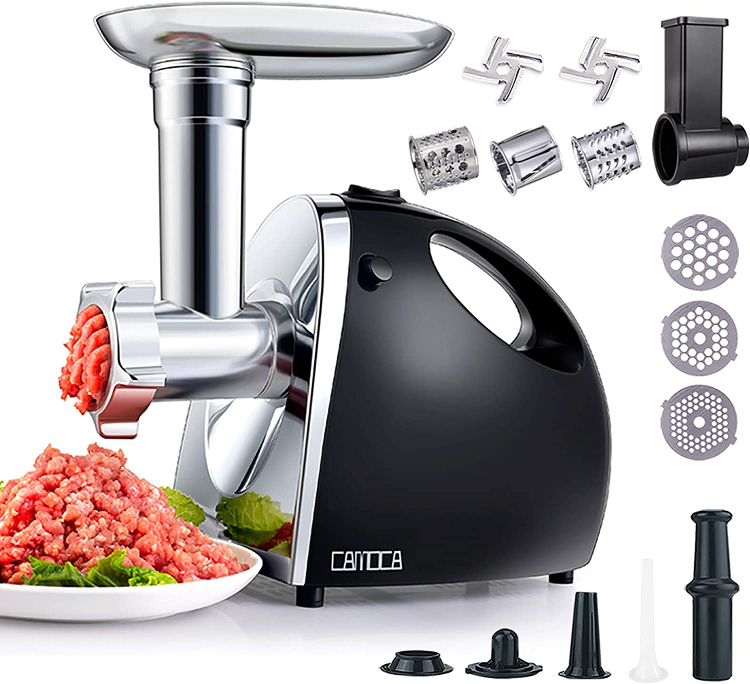 CAMOCA Meat Grinders for Home Use, Electric Food Grinder & Sausage Maker with Handle, [1600W Max], with Stainless Steel Slicer Shredder Attachment, 2 Blade and 3 Grinding Plates, Sausage & Kubbe kit.
