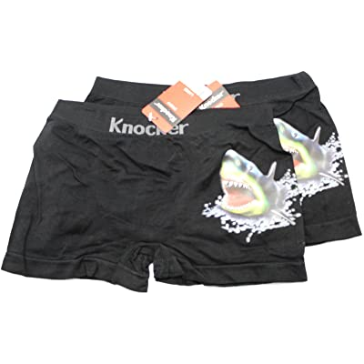 2 Piece Black Colored Shark Boxer Briefs by Knocker (Boys Large)