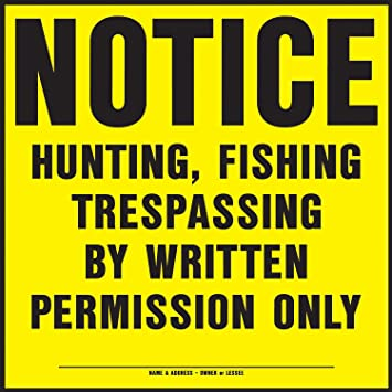 "New Lot of 10 Hy-Ko 9/""x12/"" 3011 Plastic No Hunting or Trespassing"
