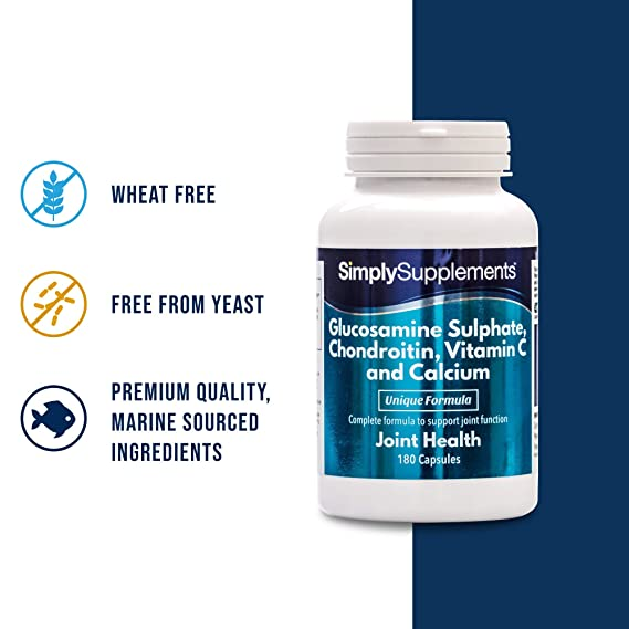 Glucosamina, Condroitina, Vitamina C y Calcio - 360 comprimidos (Dos frascos de 180) - Hasta 1 año de tratamiento - Favorece unas articulaciones sanas ...