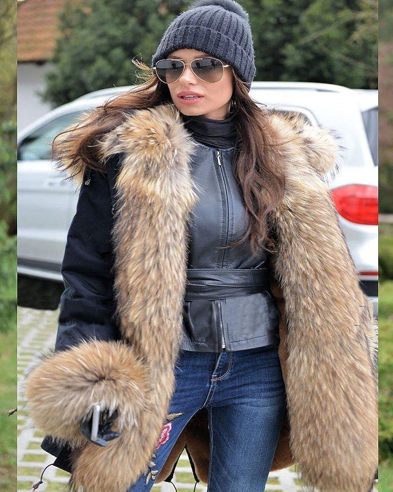 Aox Women Winter Faux Fur Hood Warm Thicken Coat Lady Casual Plus Size Parka Jacket Outdoor Overcoat