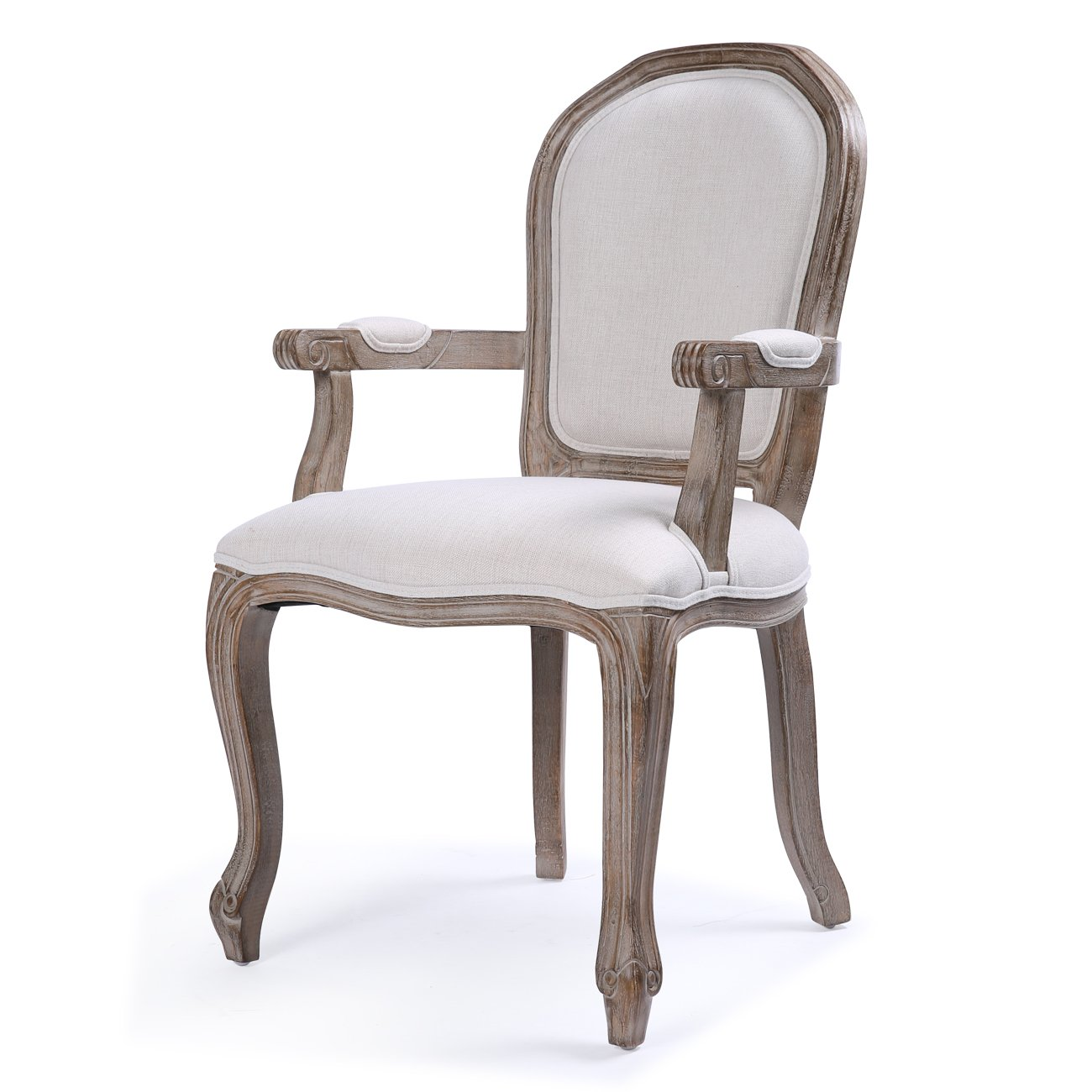 Belleze Classic Dining Room Chair Accent Elegant Linen Side High Back w/Padded Armrest Solid Wood Legs, Beige by Belleze