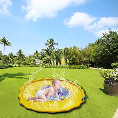 """Fivebop Funny Splash Play Mat Outdoor Water Sprinkle Pad for Kids Toddlers (67""""): Toys & Games"""
