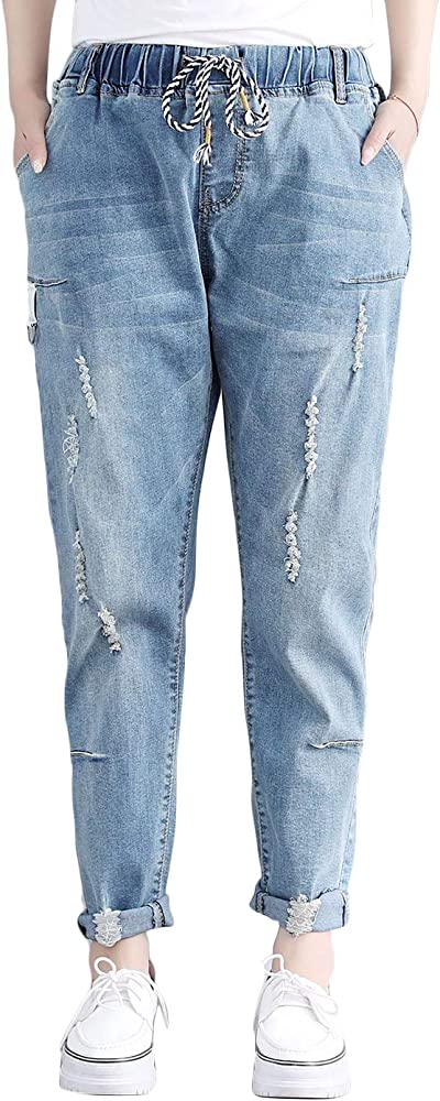 Women Ripped Mid Waist Jeans Ladies Casual Straight Wide Loose Baggy Denim Pants