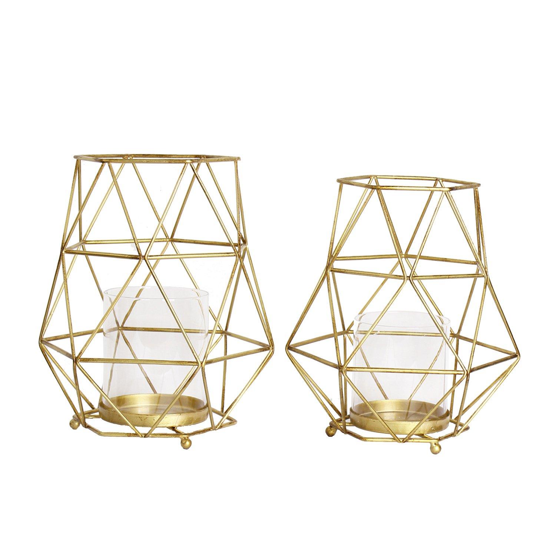 Magari Furniture Geometric Candleholder Set of 2 Rustic Gold 2 Piece
