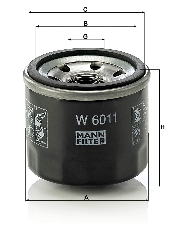 MANN-FILTER W 6011 Original Filtro de Aceite, Para automóviles ...