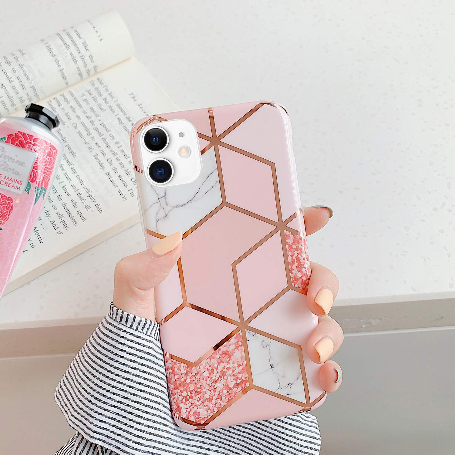 Design D PHEZEN Case for iPhone X//iPhone XS Case,Girls Women IMD Geometric Marble Pattern IMD Glossy Shockproof Clear Bumper Ultra Slim TPU Shell Soft Silicone Back Cover Case for iPhone X//XS