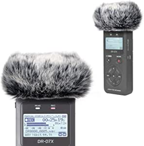 DR07X Windscreen Muff for Tascam DR-07X DR-07MKII Portable Digital Recorders, DR07X Mic Windscreen Artificial Fur Wind Muff by YOUSHARES