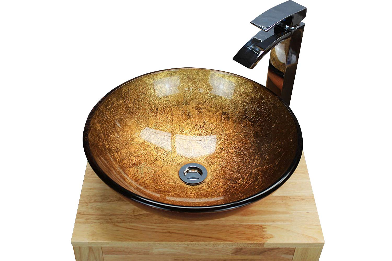 BATHROOM CLOAKROOM COUNTERTOP FLASH GOLD GLASS BASIN SINK