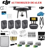 DJI Phantom 4 PRO Plus Obsidian Black Quad-copte Drone with 1 inch 20MP 4K Camera KIT, 4 Total Batteries, 3 64GB Micro SD Cards, Reader, Prop Guards, Range Extender, Charging Hub, Remote Harness, Case