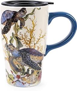 Minigift Ceramic Ocean Cup Travel Coffee Mug 16oz (4 Designs for choice-Turtle)