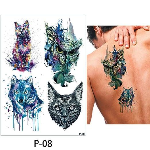 adgkitb 3pcs Pegatinas de Tatuaje Temporal de Lobo P-08 15x21cm ...