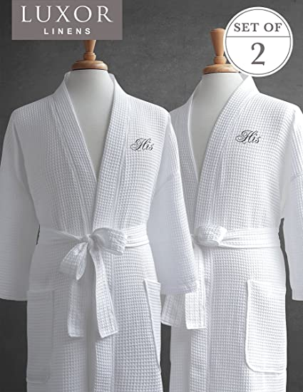 4432689edf Amazon.com  Same-Sex Couple s Waffle Weave Bathrobe Set-100 ...