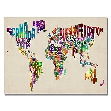 trademark fine art typography world map ii by michael tompsett canvas wall art 18x24