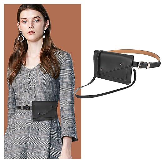 4ff04c5c23b5 Black Fanny Pack for Women Fashion Waist Bag with Designer Leather Belt Bag  for Travel Outdoors