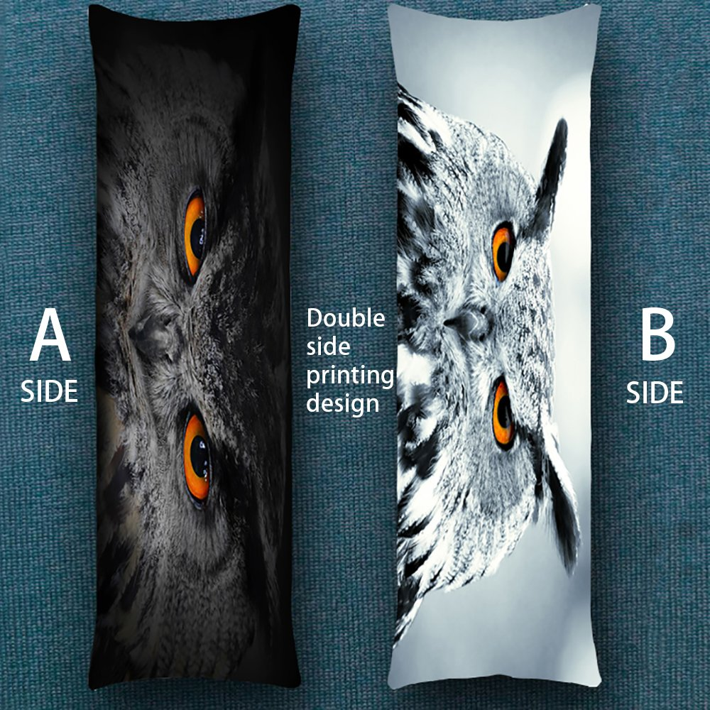 1 Piece helengili Owl Double-Sided Printing BodyPillowcases 20 x 54inch 3D Lovely Animals Body Pillow Cover for Kids Adults