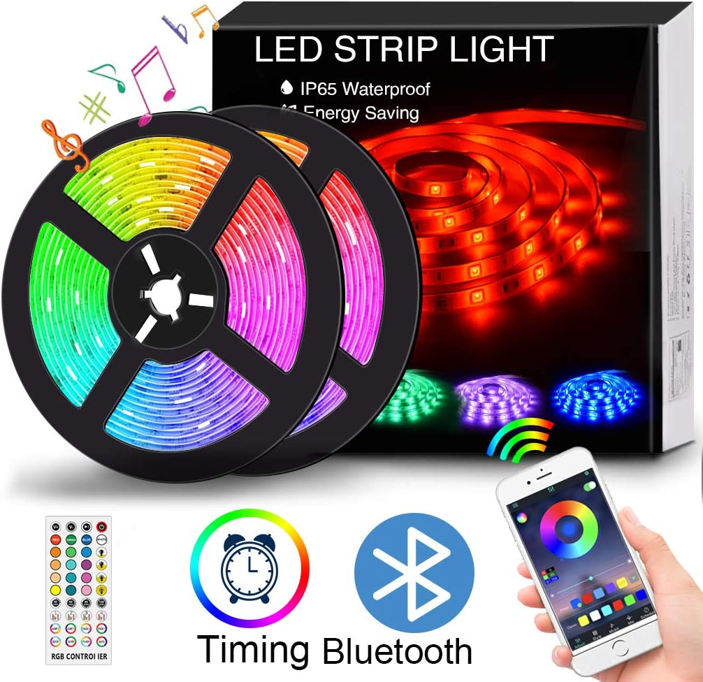 LED Strip Lights Music Sync, 32.8FT/10M Waterproof RGB LED Light Strips APP Controlled Bluetooth 5050 300LEDs Flexible Neon Lights Dimmable Color Changing Rope Lights for TV, Bedroom, Party and Home