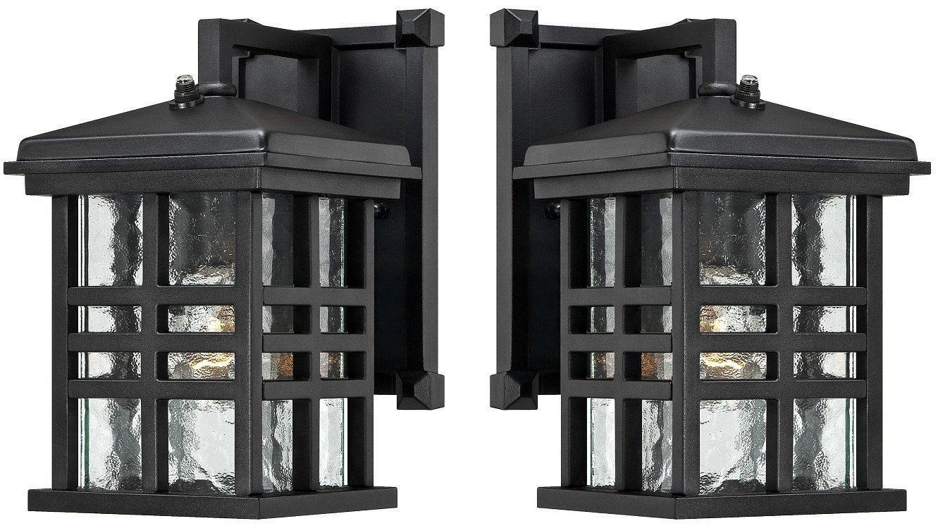 Westinghouse 6204500 Caliste 1 Light Outdoor Wall Lantern with Dusk to Dawn Sensor, Textured Black (Pack of 2, Textured Black)