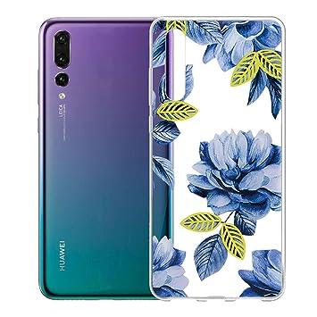 Funda para Huawei P20 Pro , IJIA Transparente Azul Flores De ...