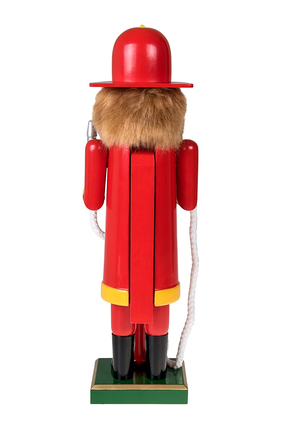 Perfect for Shelves Stands at 14 Tall with Dog Festive Christmas Nutcracker Dressed in Red Firefighter Uniform and Black Helmet Clever Creations Traditional Firefighter Wooden Nutcracker