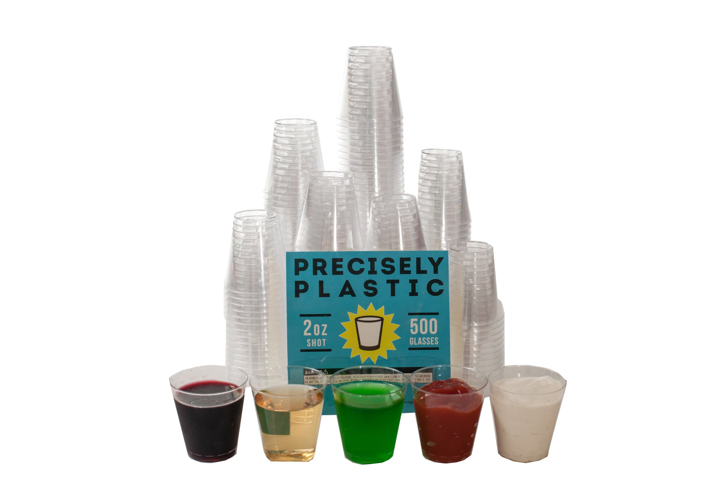500 Shot Glasses Premium 2oz Clear Plastic Disposable Cups, Perfect Container for Jello Shots, Condiments, Tasting, Sauce, Dipping, Samples by Precisely Plastic