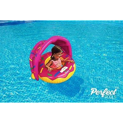 Perfect Pools Flotador Inflable Para Piscina Para Bebés - Anillo de Natación Bebé Rosquilla Asiento para Niños Pequeños con Sombrilla para Niños de 6 a 36 meses Niños Pequeños