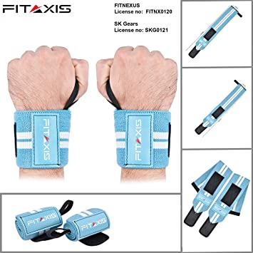 FITAXIS Weight Lifting Wrist Wraps Bandage Hand Support Gym Training Straps NEW
