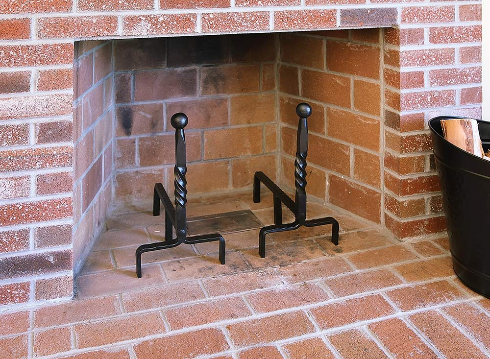 Minuteman International Ball End Wrought Iron Fireplace andirons Pair Black