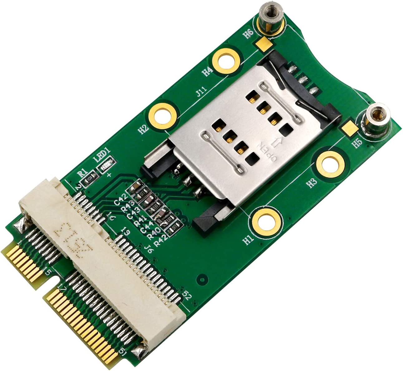 SUPERPLUS Mini PCI-E Adapter with SIM Card Slot for 3G/4G,WWAN LTE,GPS Card (Clamshell SIM Card Holder)
