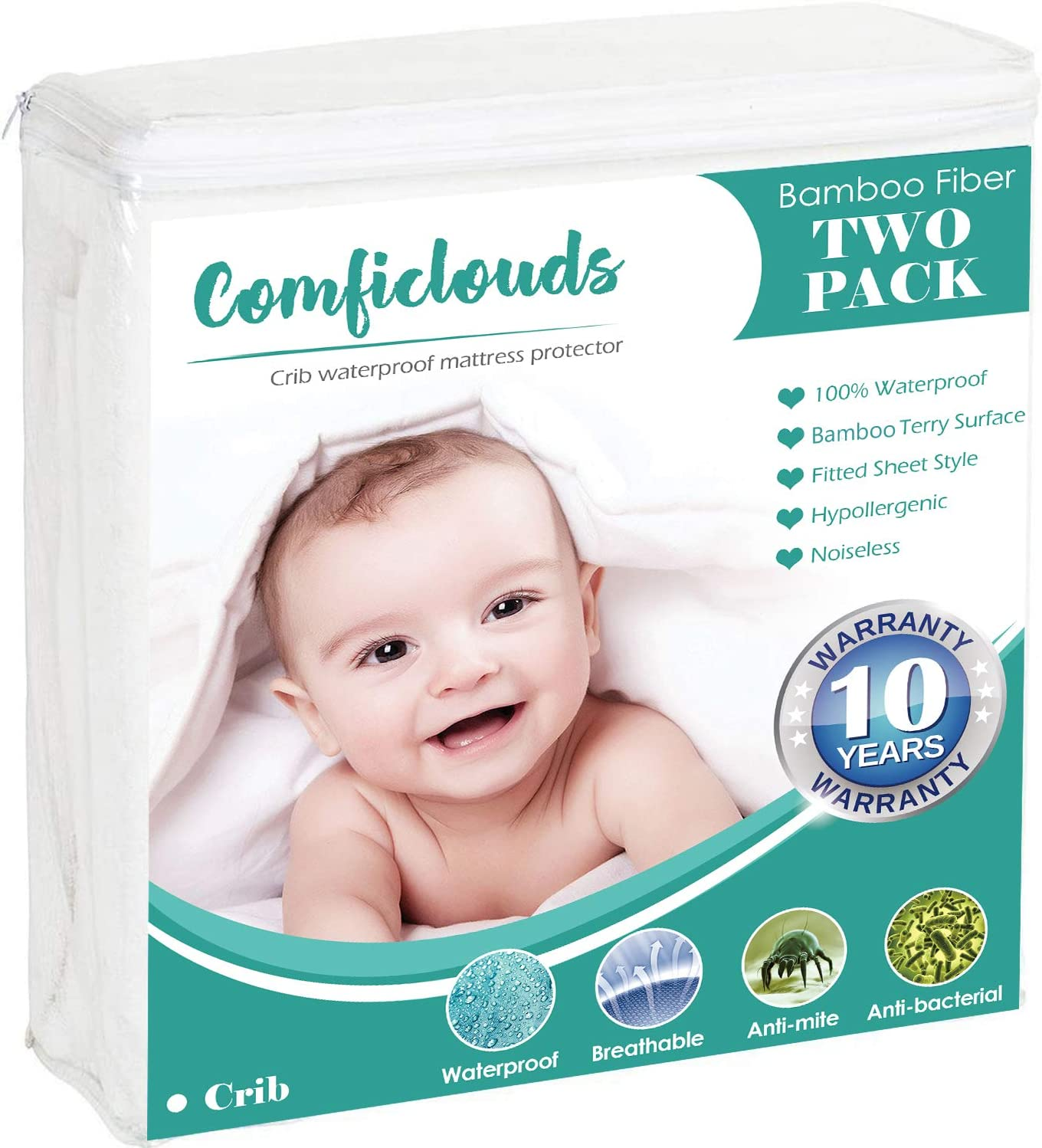 6-9 Deep 28 x 52 EASELAND 100/% Waterproof Crib Mattress Protector Organic Bamboo Fitted Sheet Style Ultra Soft 1 Pc//Pack Baby Mattress Pad Cover