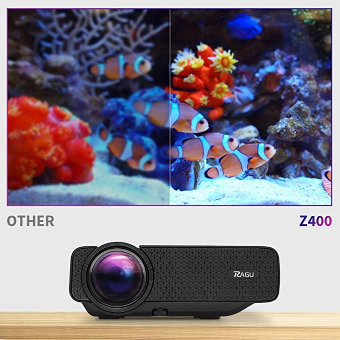 Ragu Z400, miniproyector home theater LED, con luminosidad 1600 ...