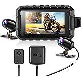 Motorcycle Camera Dash Cam, WonVon A1 1080P+1080P Dual Front Rear Bike Dashcam with 3'' Adjustable Brightness Screen G-Sensor