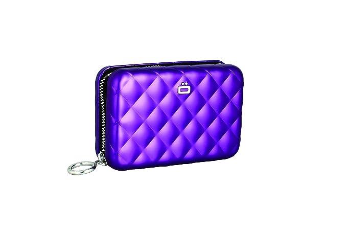 ÖGON QZ-Purple Tarjetero Quilted Zipper Aluminio Anodizado ...