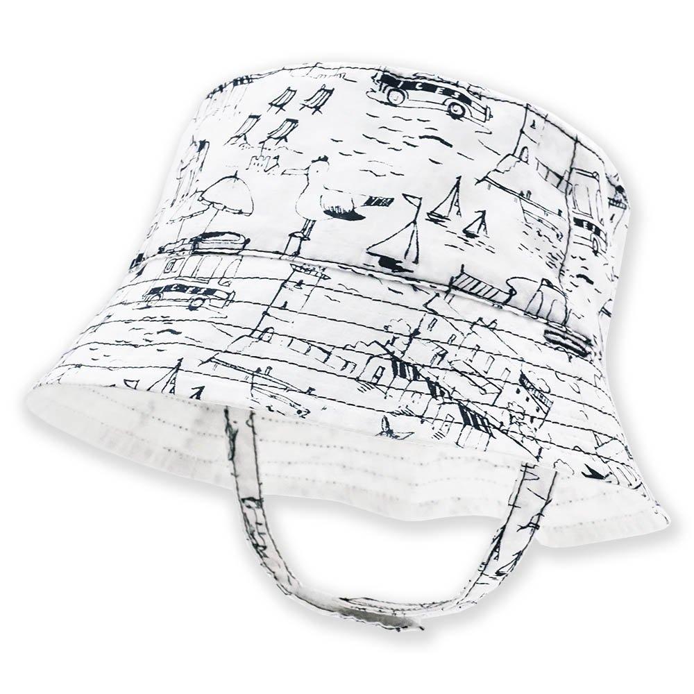 Keepersheep Infant Baby Toddler Boys' Girls' Sun Bucket Hat, Newborn Fisherman Bucket Hat (12-18 Months, White Print)