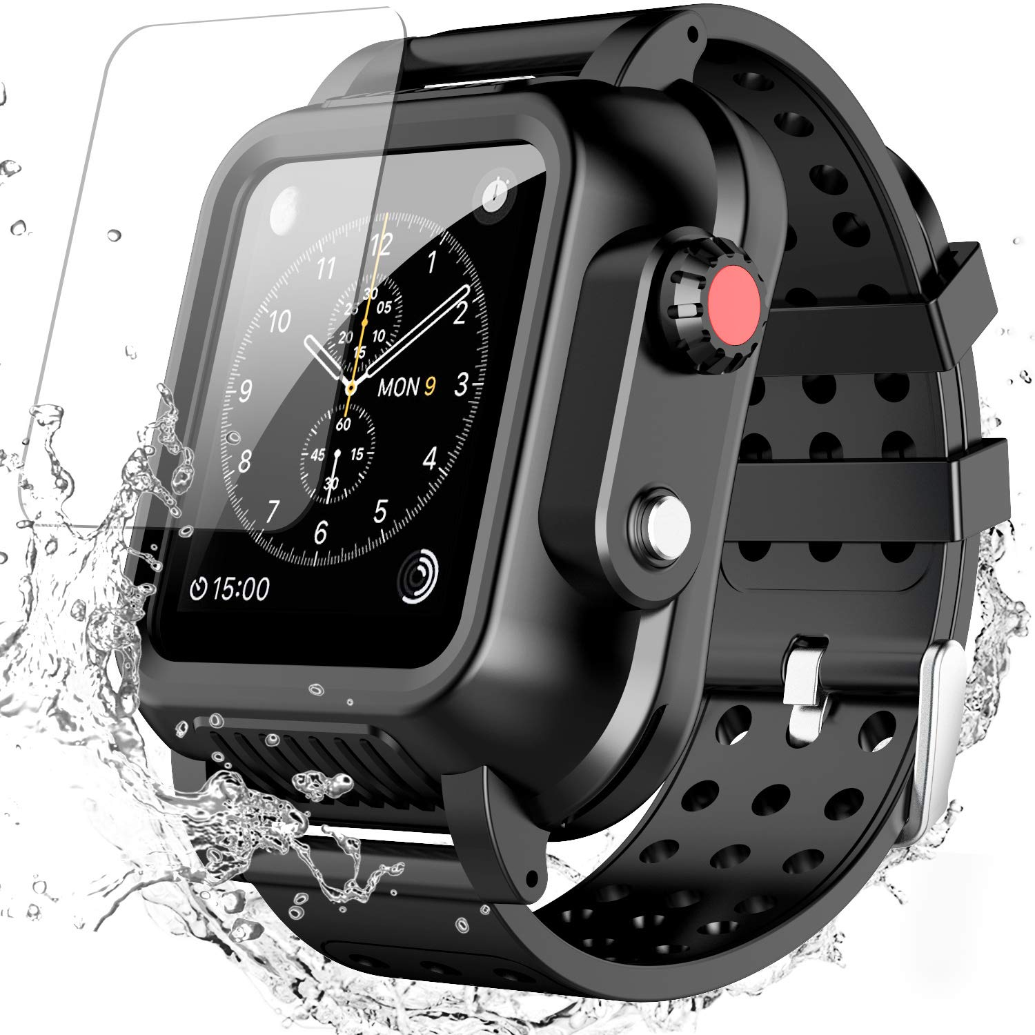 Waterproof Case for Apple Watch Series 3 42mm with Premium Soft Silicone Band, SPIDERCASE Built-in Screen Protector Full Body Rugged Armor Case, Anti-Scratch, Shockproof, for Apple Watch Series 3 42mm