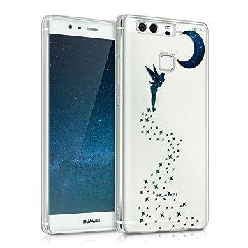 kwmobile Funda para Huawei P9 - Carcasa de [TPU] para móvil y diseño de Hada en [Azul Oscuro/petróleo/Transparente]