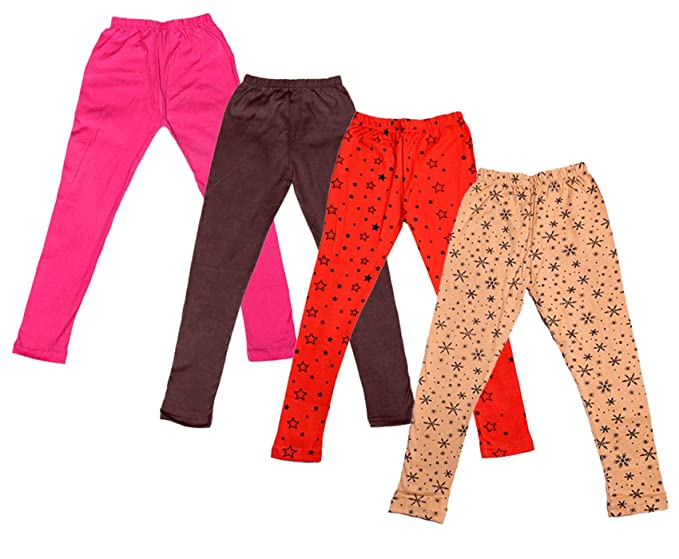 Pack Of 2 Indistar IndiWeaves Girls Super Soft and Stylish Cotton Printed Legging