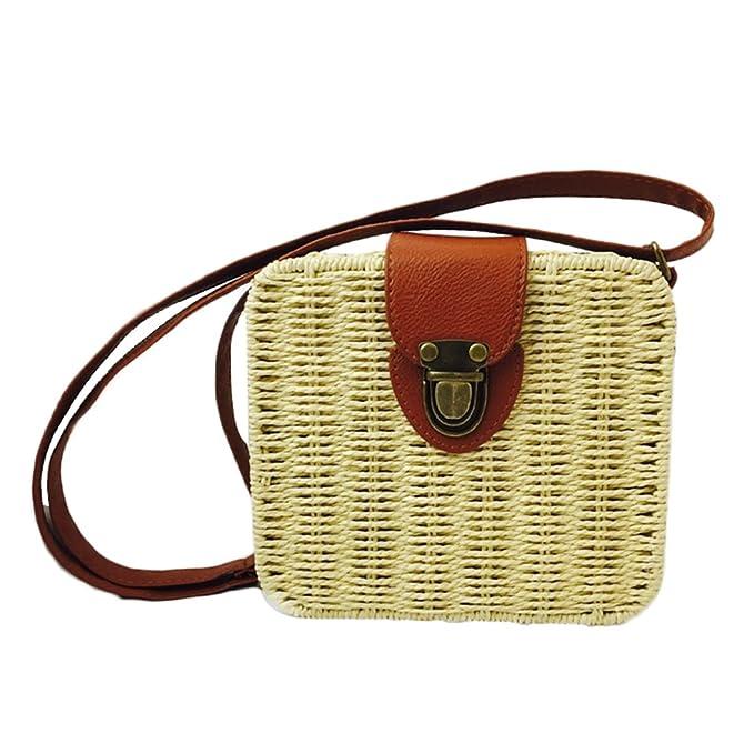 Amazon.com: Verano paja bolsa de tela para mujer playa bolso ...