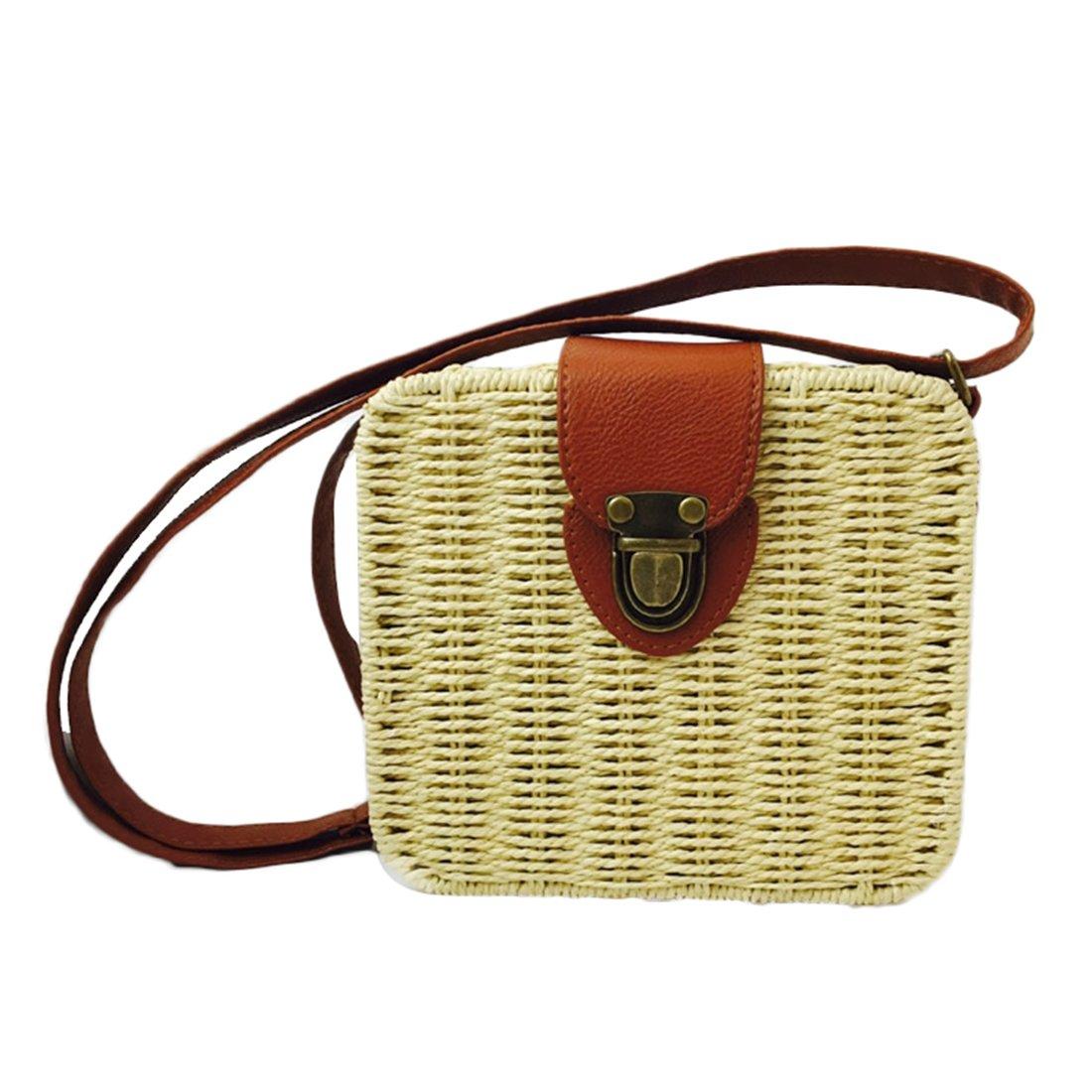 Summer Straw Woven Bag for Women Beach Handbag Crossbody Shoulder Bag Messenger Satchel (Beige)