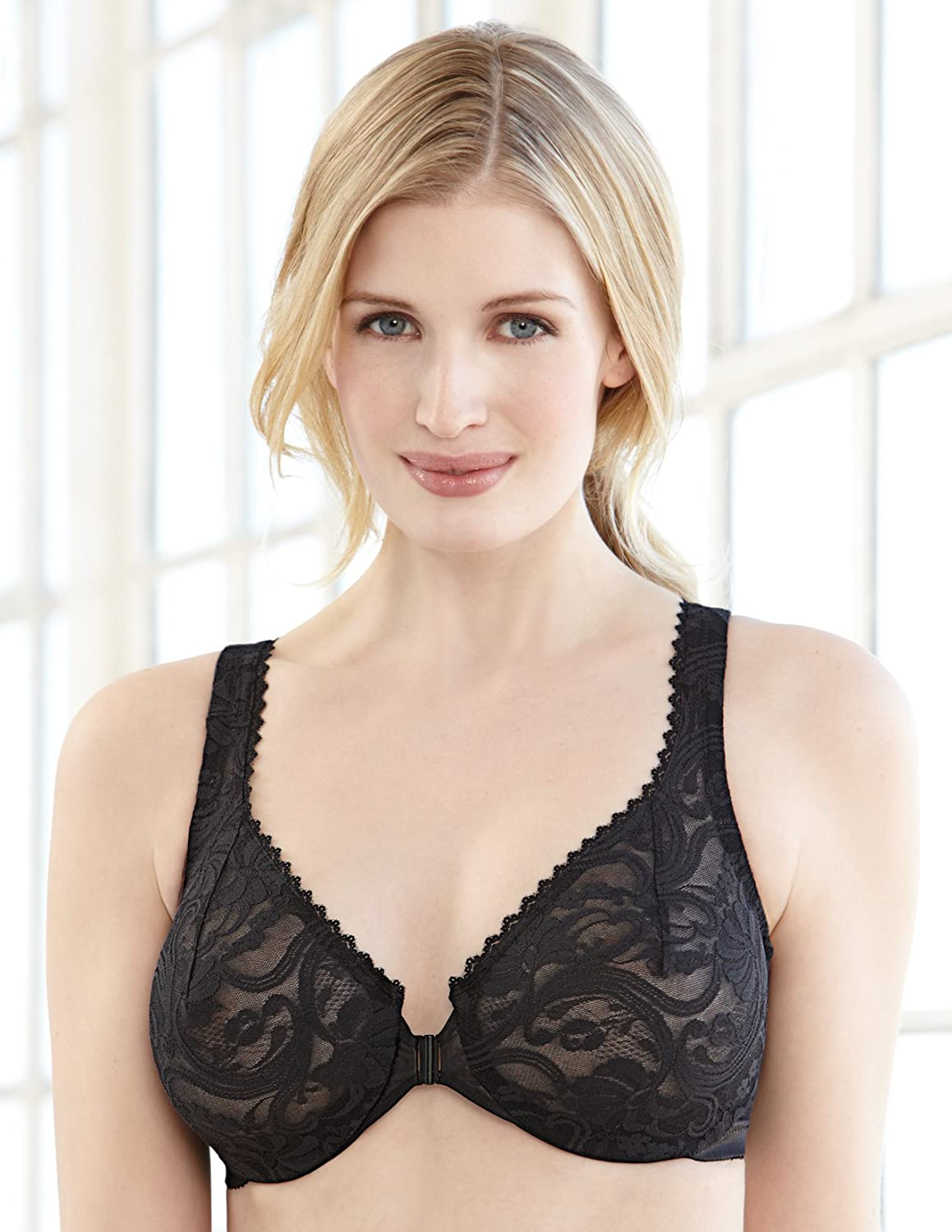 Glamorise Womens Full Figure Wonderwire Front Close Stretch Lace Bra 9245 At Amazon Womens Clothing Store Bras