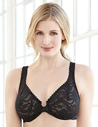 bc4c770f1c8e0 Glamorise Women s Full Figure Wonderwire Front Close Stretch Lace Bra  9245